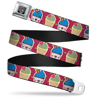 BD Wings Logo CLOSE-UP Full Color Black Silver Seatbelt Belt - Happy Cupcakes/Dots Pink/Green Webbing