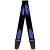 Guitar Strap - Chevy Bowtie Logo Repeat Black Blue