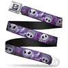 Jack Expression6 Full Color Seatbelt Belt - Jack Expressions/Ghosts in Cemetery Purples/Grays/White Webbing
