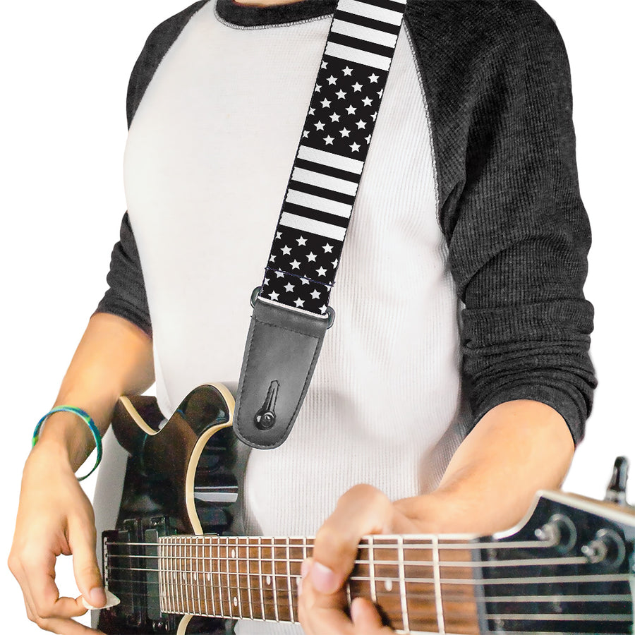 Guitar Strap - American Flag CLOSE-UP Black White