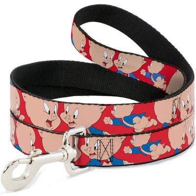 Dog Leash - Porky Pig Expressions Red