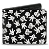 Bi-Fold Wallet - Mickey Mouse Hand Gestures Scattered Black White