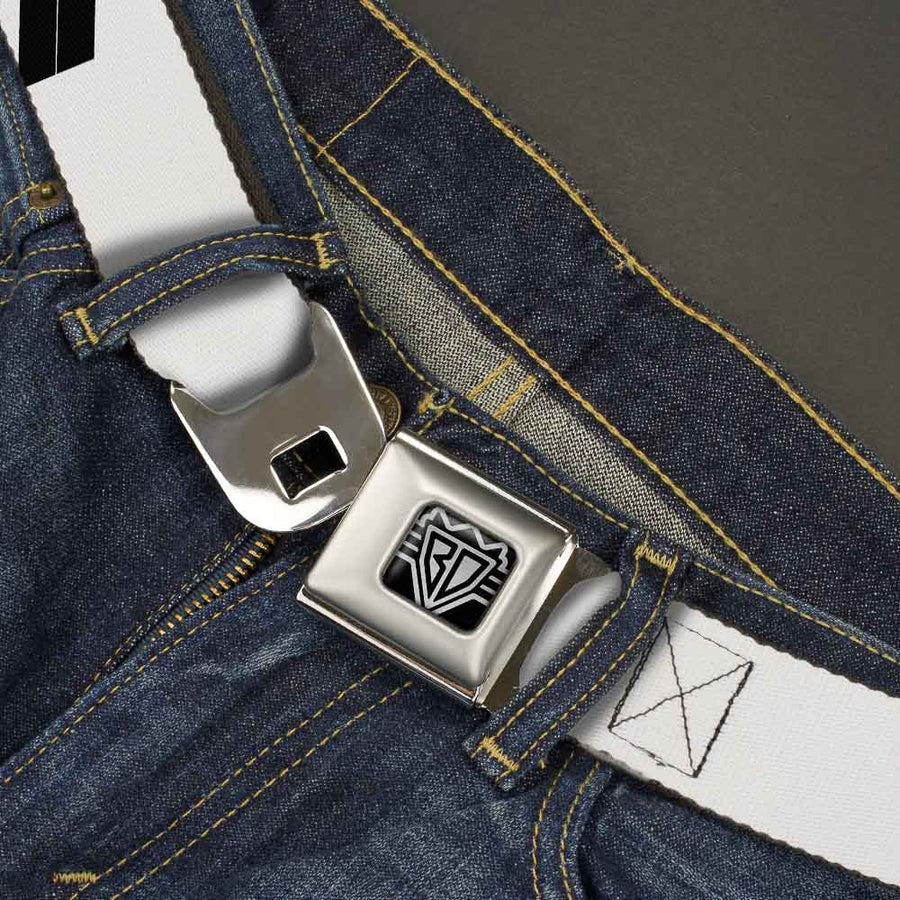 BD Wings Logo CLOSE-UP Full Color Black Silver Seatbelt Belt - Born to Raise Hell Yellow Webbing