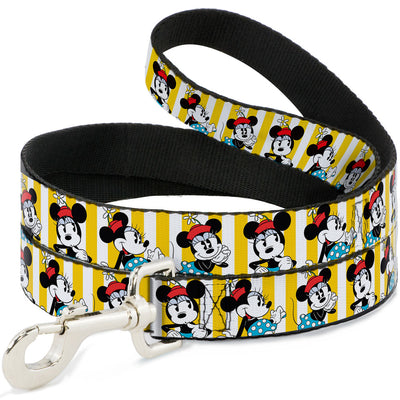 Dog Leash - Minnie Mouse w/Hat Poses Stripe Yellow/White