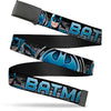 Black Buckle Web Belt - BATMAN Poses/Bat Signal CLOSE-UP Black/Grays/Blues Webbing