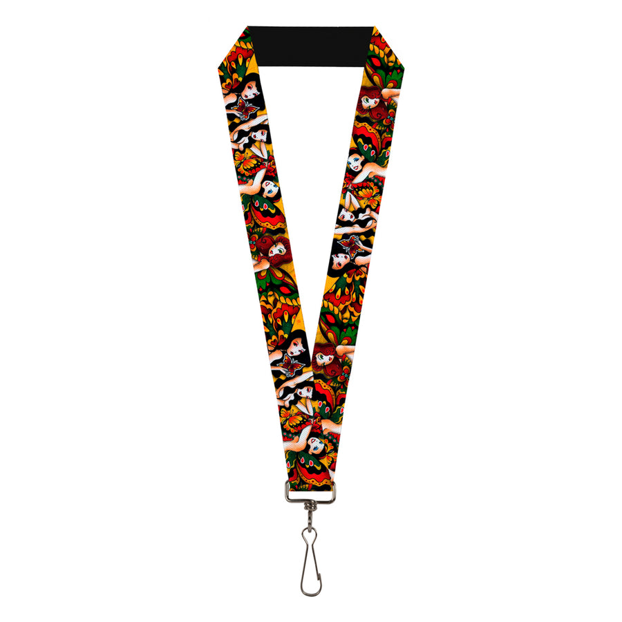 "Lanyard - 1.0"" - Tattoo Johnny-Butterfly Girl"