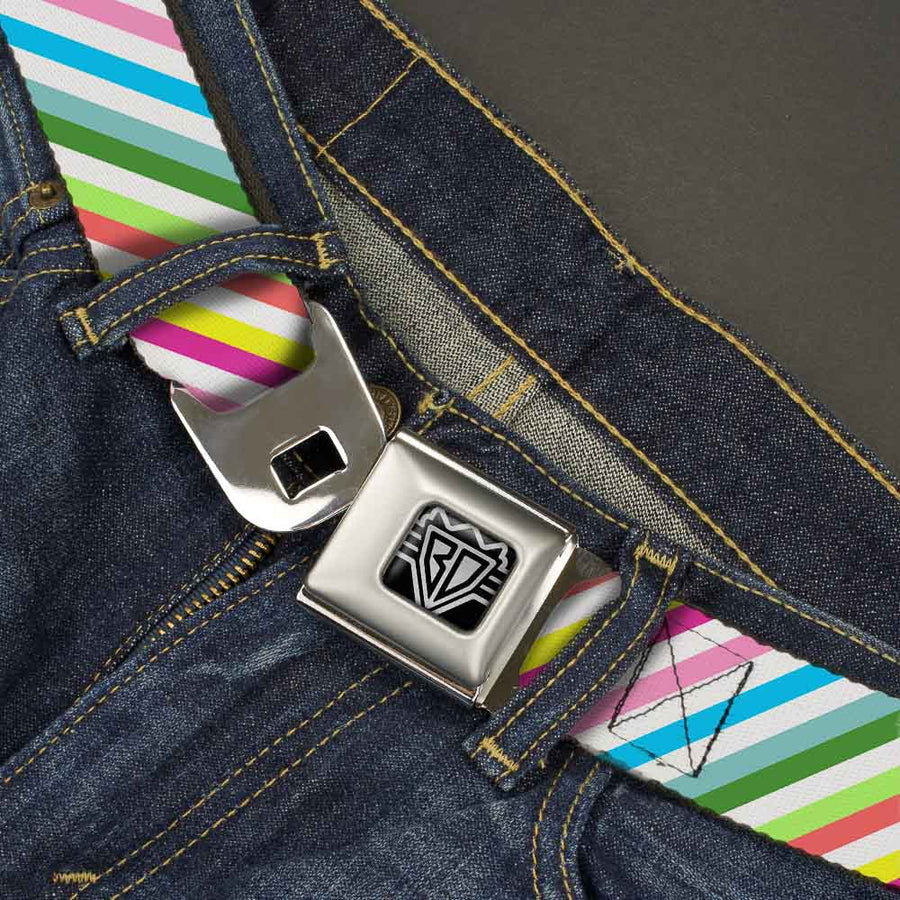 BD Wings Logo CLOSE-UP Full Color Black Silver Seatbelt Belt - Diagonal Stripes White/Multi Color Webbing