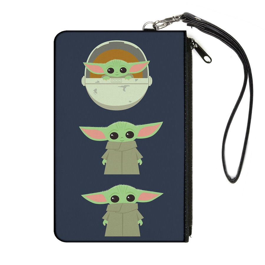 Canvas Zipper Wallet - LARGE - Star Wars The Child 3 Chibi Poses Gray