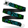 Monsters Eye Full Color Black Neon Green Seatbelt Belt - Monsters Inc. Sully & Mike Poses/GRRRRR! Black/Turquoise/Green Webbing