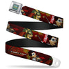 DC BOMBSHELLS Star Rays Full Color Blues Seatbelt Belt - KATANA Poses & Samurai Dragons/Rays Reds/Black Webbing