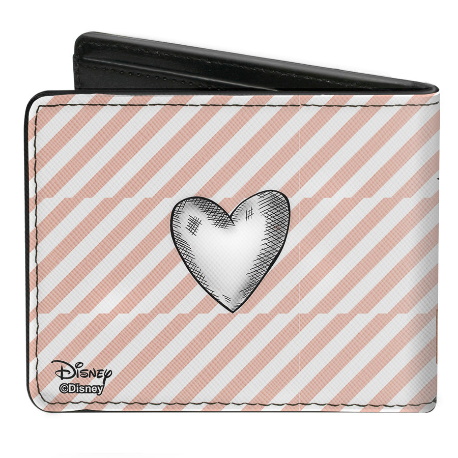 Bi-Fold Wallet - Tinker Bell Sassy Pose2 PIXIE DUST Stripes White Pink Gold Grays