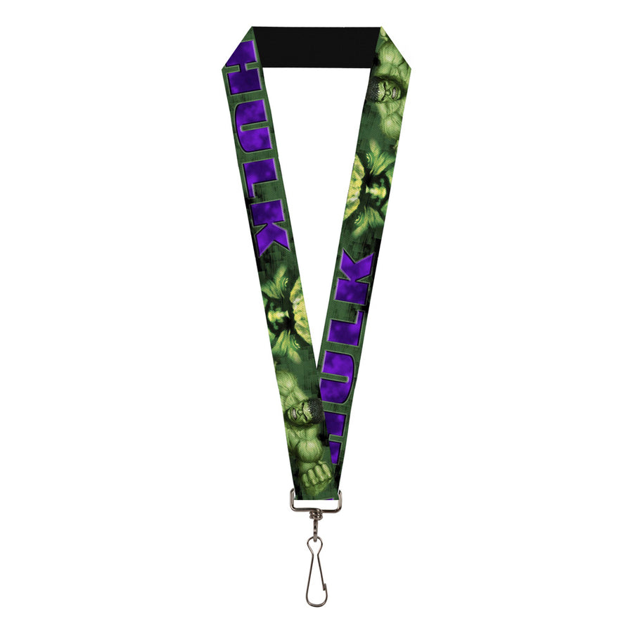 "MARVEL COMICS Lanyard - 1.0"" - HULK Face CLOSE-UP Action Pose Greens Purples"