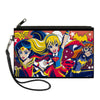 Canvas Zipper Wallet - SMALL - DC Super Hero Girls Trio Group Pose Logo Reds Blues