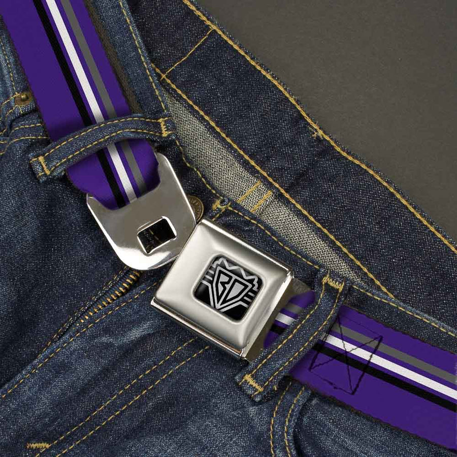 BD Wings Logo CLOSE-UP Full Color Black Silver Seatbelt Belt - Racing Stripes Purple/Gray/White/Black Webbing