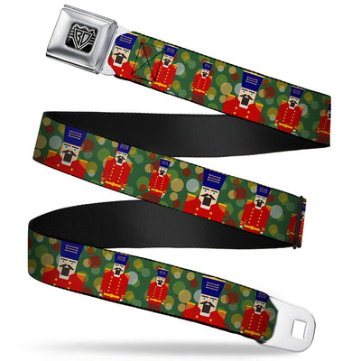 BD Wings Logo CLOSE-UP Full Color Black Silver Seatbelt Belt - Christmas Nutcracker/Polka Dots Greens/Gold/Red Webbing
