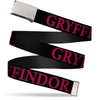 Chrome Buckle Web Belt - Harry Potter GRYFFINDOR Black/Red Webbing