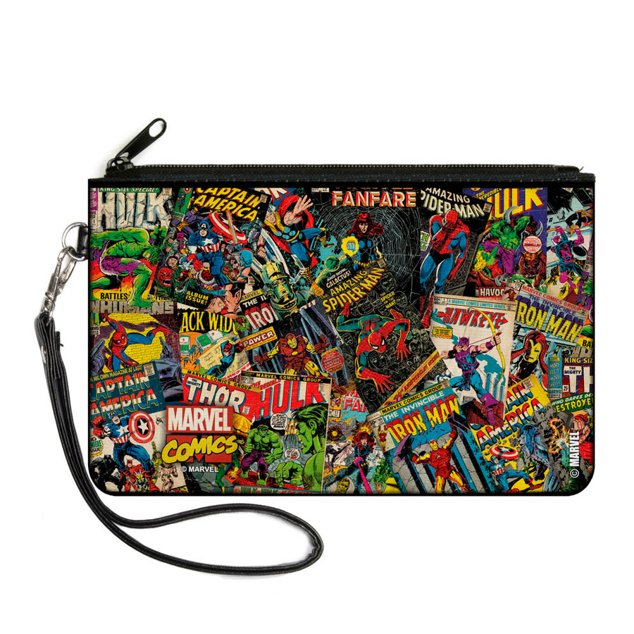 MARVEL COMICS Canvas Zipper Wallet - LARGE - Retro Marvel Comic Books Stacked2