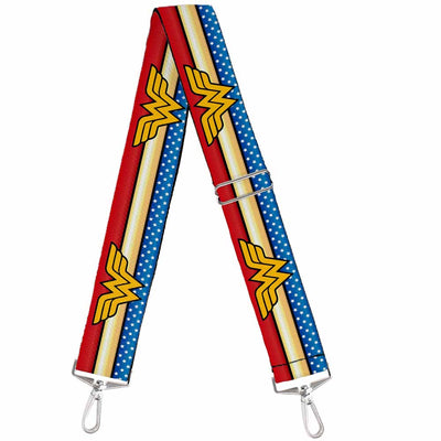 Purse Strap - Wonder Woman Logo Stripe Stars Red Gold Blue White