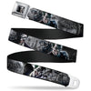 Joker Face Bats CLOSE-UP Full Color Grays Seatbelt Belt - BATMAN ARKHAM ORIGINS Joker Expressions/Bats Grays Webbing