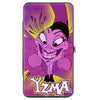 Hinged Wallet - YZMA Smiling Pose + Fish Icon Fuschias Yellows