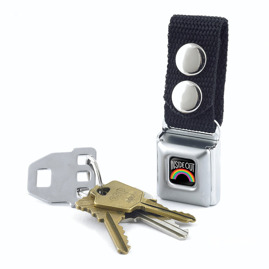 Keychain - INSIDE OUT Rainbow Full Color Black White Multi Color