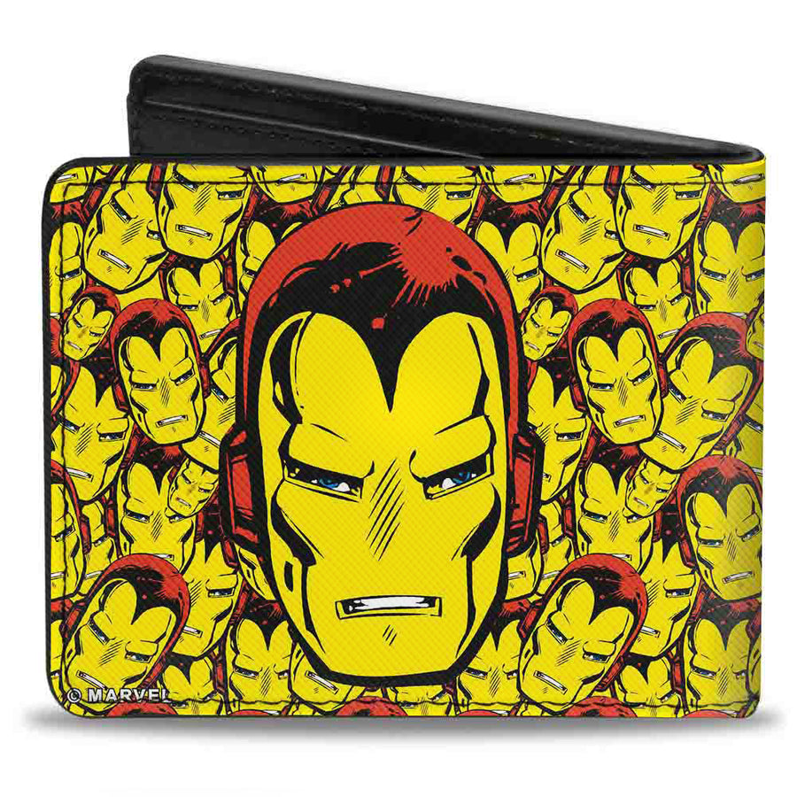 MARVEL COMICS Bi-Fold Wallet - Iron Man Face CLOSE-UP Stacked