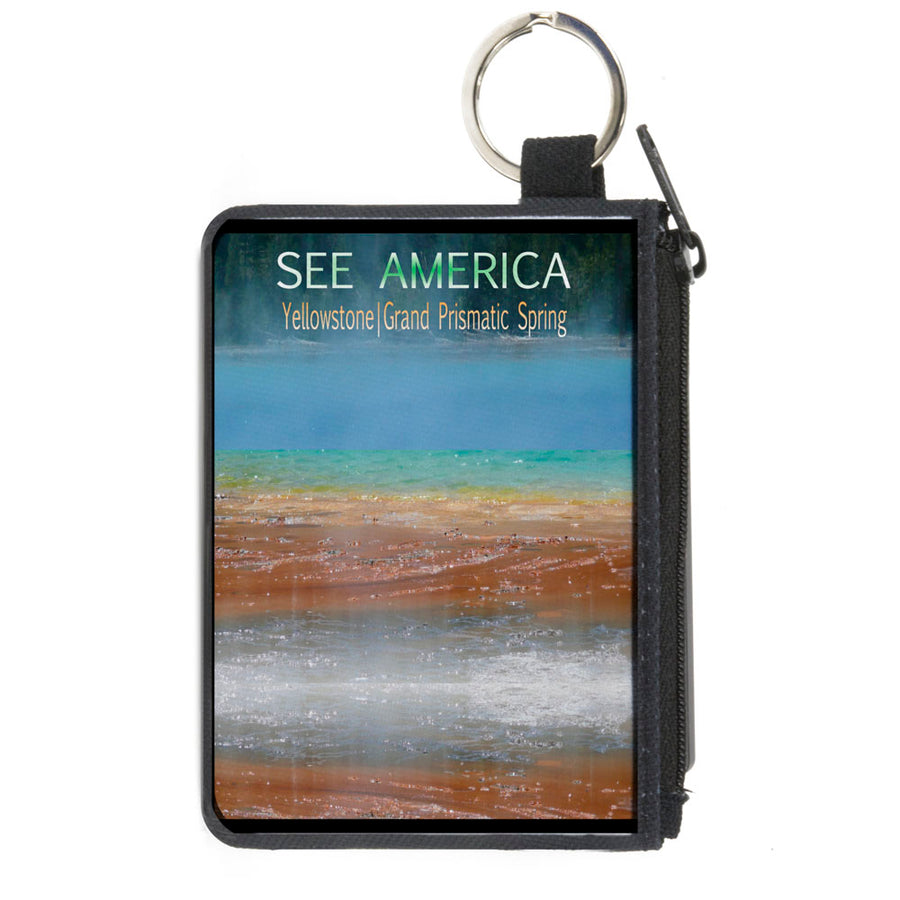 Canvas Zipper Wallet - MINI X-SMALL - SEE AMERICA-YELLOWSTONE Vivid GRAND PRISMATIC SPRING