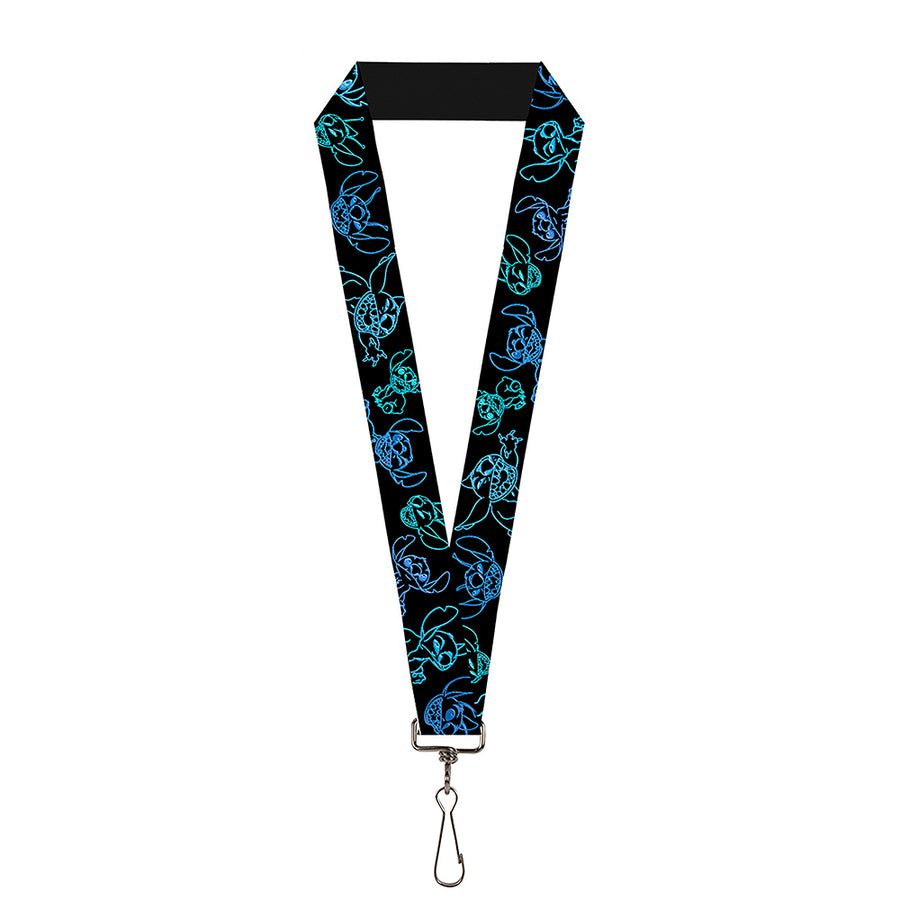 "Lanyard - 1.0"" - Electric Stitch Poses Black Neon Blue"
