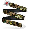 MARVEL UNIVERSE MARVEL Full Color Red White Seatbelt Belt - LOKI Poses Black/Gold/Green Webbing