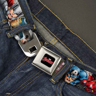 MARVEL AVENGERS MARVEL AVENGERS Logo Full Color Black Red White Seatbelt Belt - Marvel Avengers 4-Superhero Poses CLOSE-UP Webbing