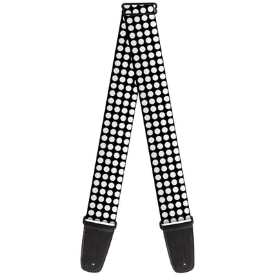 Guitar Strap - Mini Polka Dots Black White