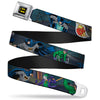 Batman Full Color Black Yellow Seatbelt Belt - Batman Battling Villains in Tunnel Webbing