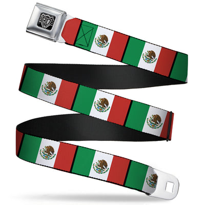BD Wings Logo CLOSE-UP Full Color Black Silver Seatbelt Belt - Mexico Flags Webbing