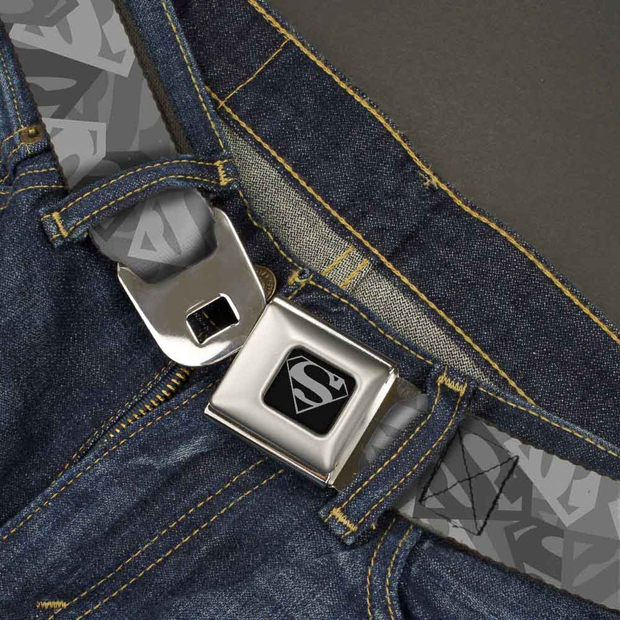 Superman Black Silver Seatbelt Belt - Superman Shield Camouflage Grays Webbing