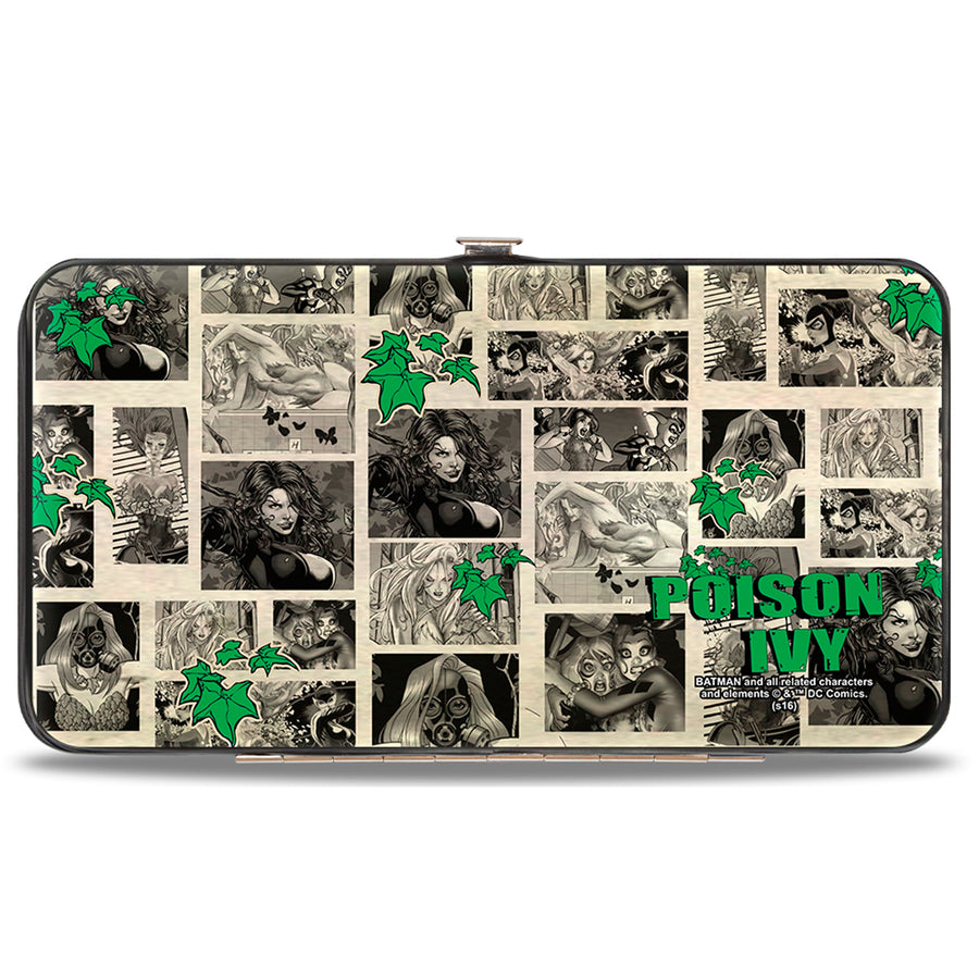 Hinged Wallet - Poison Ivy Pose + Logo Ivy Comic Scenes Grays Greens