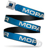 MOPAR Logo Full Color Black/Blue/White Seatbelt Belt - MOPAR Text Blue/White Webbing