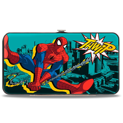 ULTIMATE SPIDER-MAN Hinged Wallet - Spider-Man Swinging Poses THWIP + Spider Logo Skyline Turquoise Black Yellows