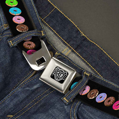BD Wings Logo CLOSE-UP Full Color Black Silver Seatbelt Belt - Sprinkle Donuts Black/Multi Color Webbing