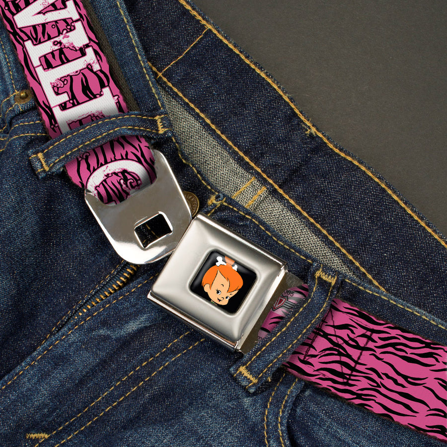 Pebbles Face1 Full Color Black Seatbelt Belt - Pebbles Face/Pose WILD CHILD Pink/Black/White Webbing