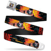 Bane Face Explosion Full Color Seatbelt Belt - BANE Pose/Explosion Bat Signal/Chanlink Black/Gray/Reds Webbing