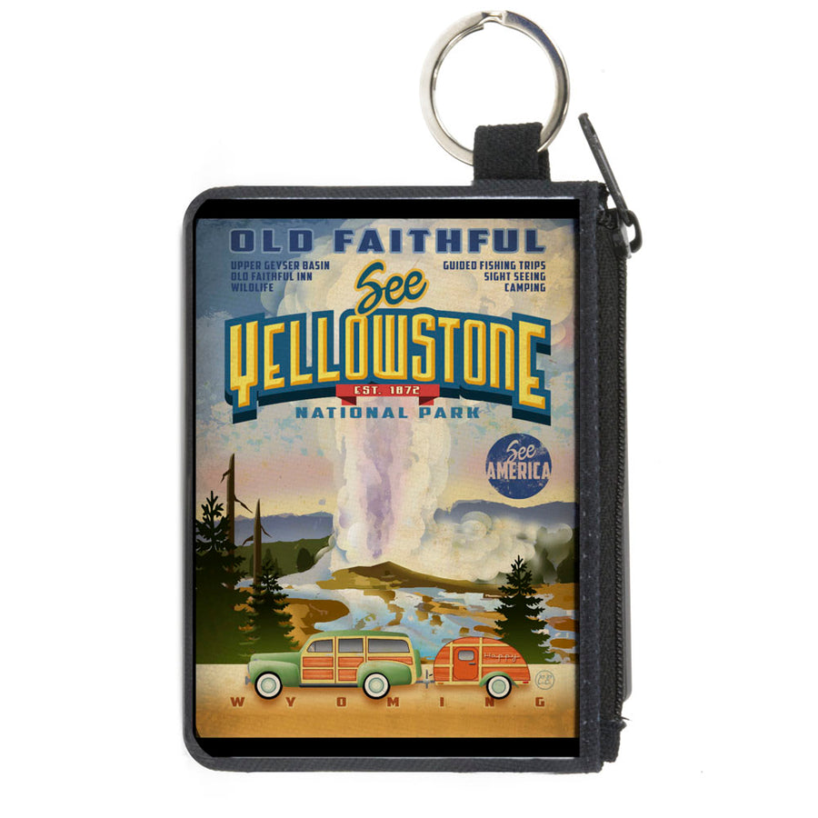 Canvas Zipper Wallet - MINI X-SMALL - SEE AMERICA-Vintage SEE YELLOWSTONE-OLD FAITHFUL Tourism Scene