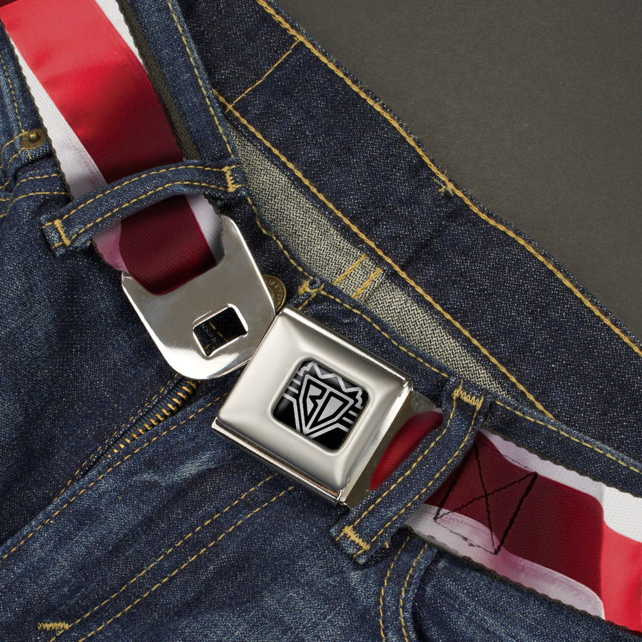BD Wings Logo CLOSE-UP Full Color Black Silver Seatbelt Belt - American Flag Vivid Stripes CLOSE-UP Red/White Webbing