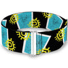 Cinch Waist Belt - Yzma Smiling Face Block Sun Icon Black White Blue Yellow