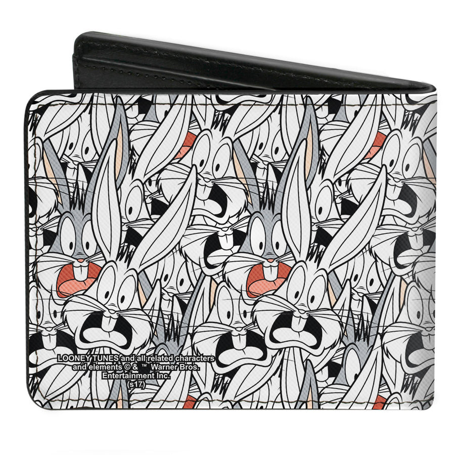 Bi-Fold Wallet - Bugs Bunny Expressions Stacked White Black Gray