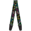 Guitar Strap - Electric Tinkerbell Poses Stripes Black Multi Neon