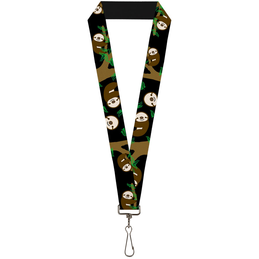 "Lanyard - 1.0"" - Sloth Face Hanging Black"