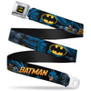 Batman Full Color Black Yellow Seatbelt Belt - BATMAN Action Poses/Bat Signal Black Webbing