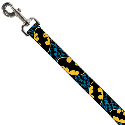 Dog Leash - Bat Signals Stacked w/CLOSE-UP Blue/Black/Yellow