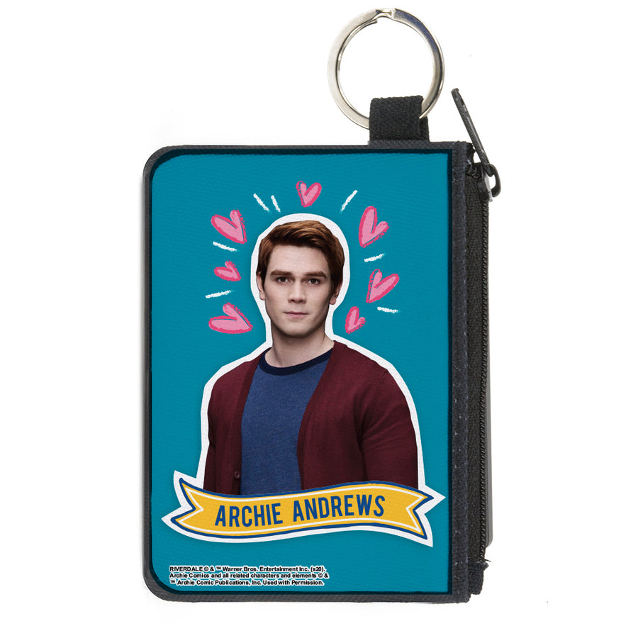 Canvas Zipper Wallet - MINI X-SMALL - Riverdale ARCHIE ANDREWS Pose Hearts Doodle Blue White Pinks