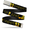 Chrome Buckle Web Belt - Tweety Bird Poses CUTE AND SWEET Black/Yellow Webbing